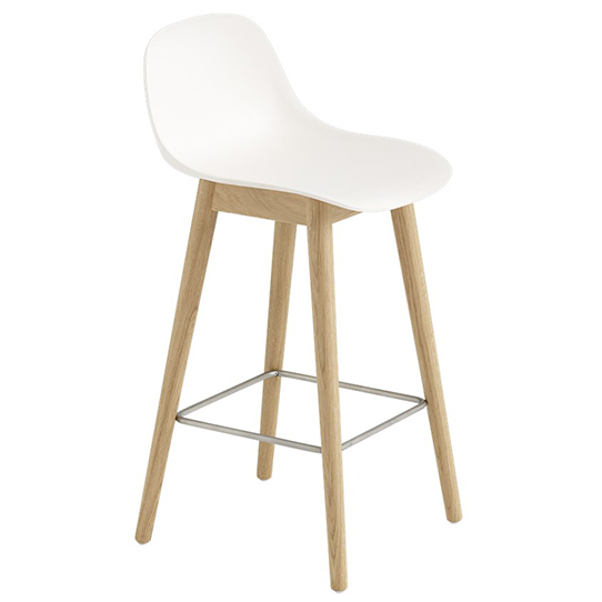FIBER BAR STOOL W. BACKREST WOOD BASE ファイバーバースツール